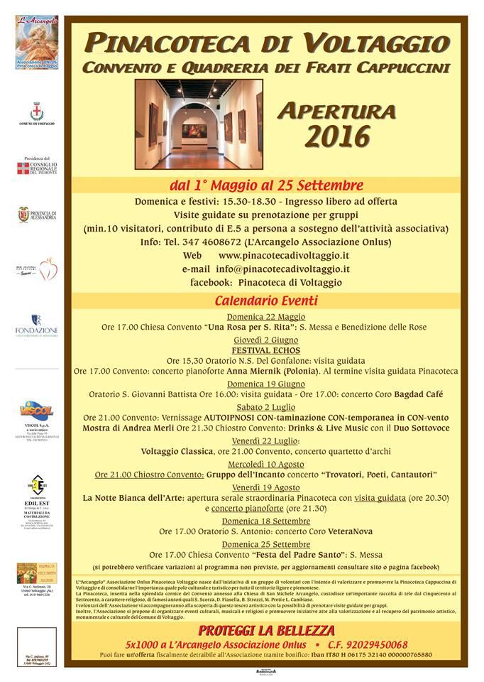 Calendario degli eventi n programma alla Pinacoteca dei Padri Cappuccini di Voltaggio
