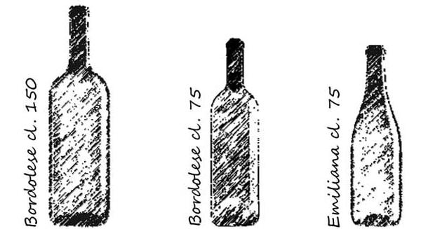 Bottiglioni e bottiglie. bordolese e emiliana