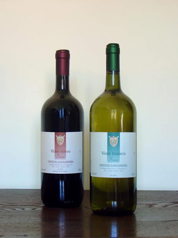 Vino da tavola rosso e vino da tavola bianco
