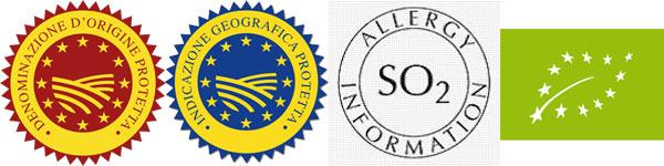 Loghi della Comunità Europea per le etichette del vino: DOP, IGP, Contiene solfiti, Vino biologico