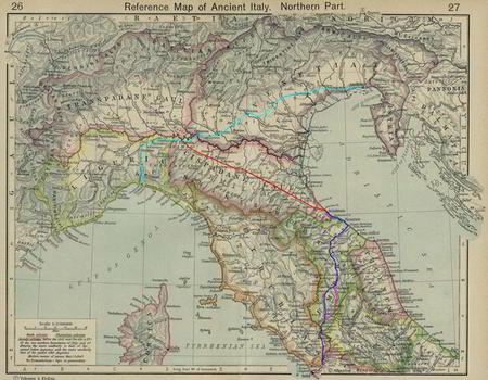 Mappa delle vie consolari