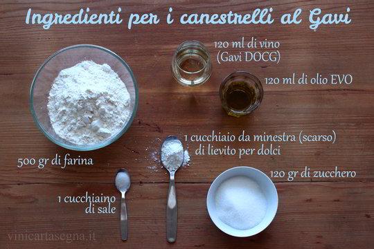 Canestrelli al vino bianco di Gavi: ingredienti