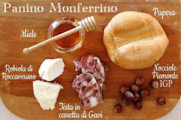 Panino Monferrino: robiola di Roccaverano, miele, nocciole, testa in cassetta di Gavi