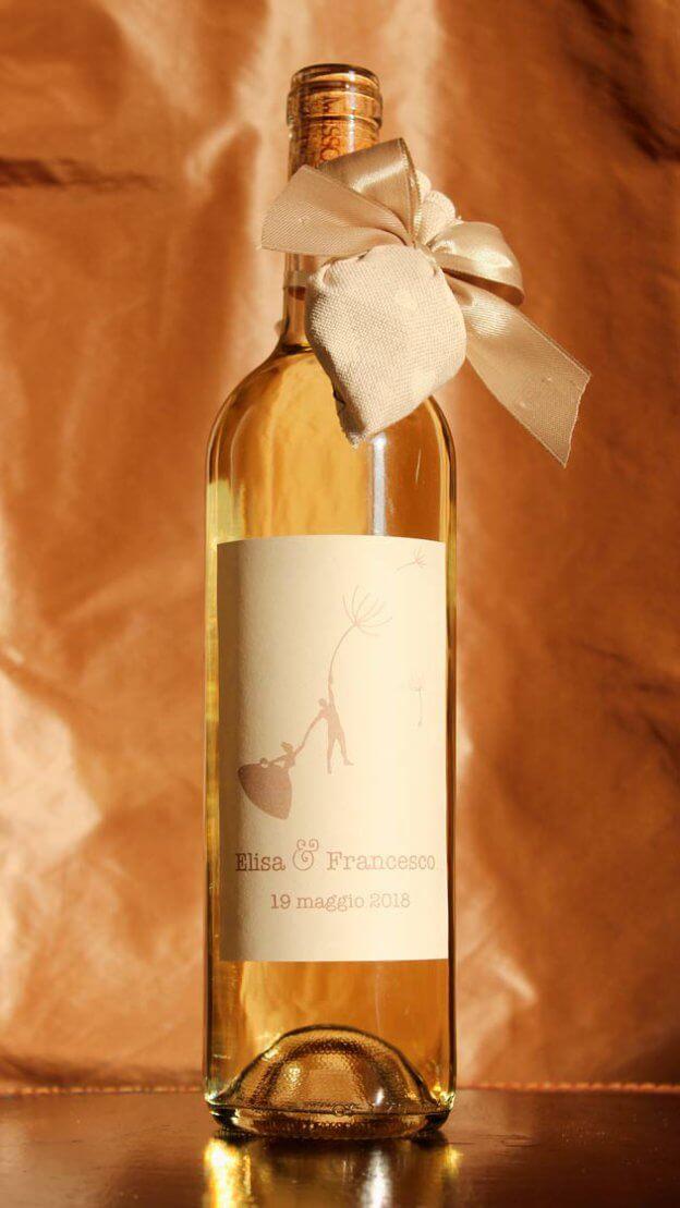 Bottiglia di Vino come Bomboniera Matrimonio - Soffioni